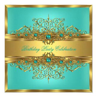 Partie élégante de perles de Teal de vert de jade Carton D'invitation 13,33 Cm