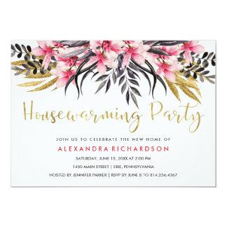 Partie florale de pendaison de crémaillère de Faux Carton D'invitation 12,7 Cm X 17,78 Cm