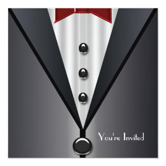 Partie formelle de cravate noire d'événement de carton d'invitation  13,33 cm