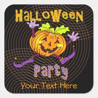 Partie heureuse de Halloween de citrouille Sticker Carré