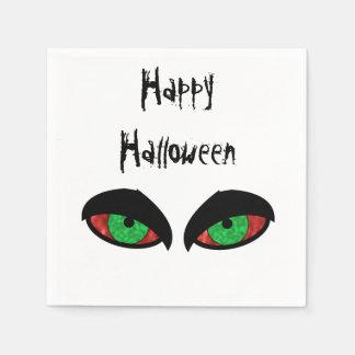 Partie heureuse de Halloween de yeux mauvais Serviettes Jetables