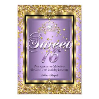 Partie majestueuse de pourpre de lavande d'or de carton d'invitation  12,7 cm x 17,78 cm