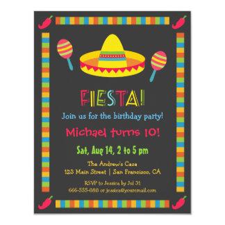 Partie mexicaine colorée d'anniversaire de enfant carton d'invitation 10,79 cm x 13,97 cm