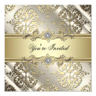 Partie noire élégante de damassé d'or carton d'invitation  13,33 cm