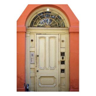 Partie orange de pendaison de crémaillère de porte carton d'invitation  12,7 cm x 17,78 cm
