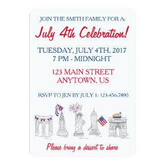 Partie patriotique de New York quatrième NYC 4 Carton D'invitation 12,7 Cm X 17,78 Cm