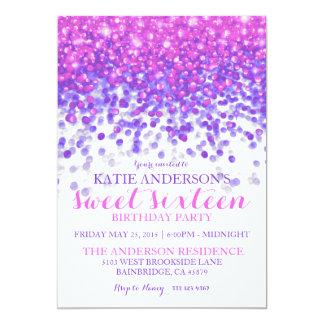 Partie pourpre rose de sweet sixteen de carton d'invitation  12,7 cm x 17,78 cm