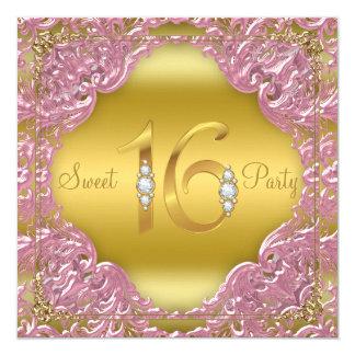 Partie rose du bonbon 16 à fantaisie de remous carton d'invitation  13,33 cm