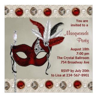 Partie rouge de mascarade de perle d or invitations personnalisées