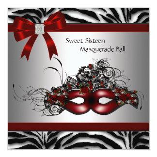 Partie rouge de mascarade du bonbon 16 à zèbre cartons d'invitation