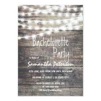 Partie rustique de bachelorette de lumières en carton d'invitation  12,7 cm x 17,78 cm
