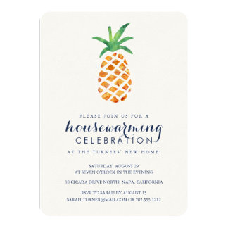 Partie tropicale de pendaison de crémaillère carton d'invitation  11,43 cm x 15,87 cm