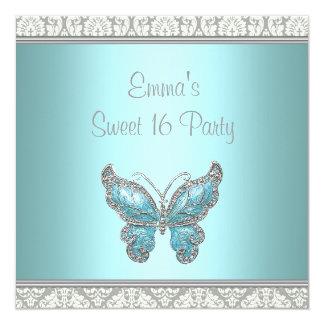 Partie turquoise du bonbon 16 à damassé de carton d'invitation  13,33 cm