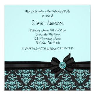 Partie turquoise du bonbon 16 à damassé de noir bl cartons d'invitation