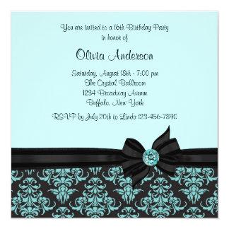 Partie turquoise du bonbon 16 à damassé de noir carton d'invitation  13,33 cm