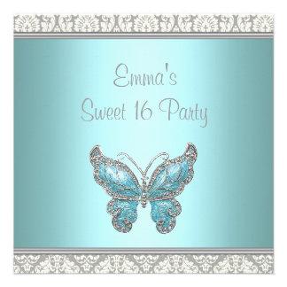 Partie turquoise du bonbon 16 à damassé de papillo invitations