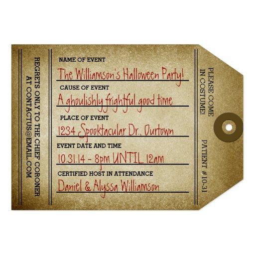 Partie vintage de Halloween d'étiquette d'orteil Invitation Personnalisée