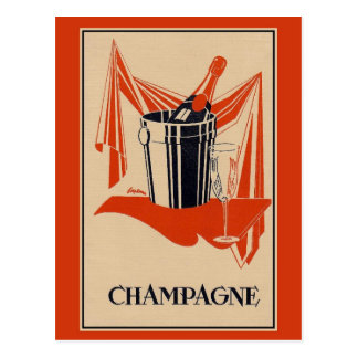 Partie vintage et anniversaire de champagne carte postale