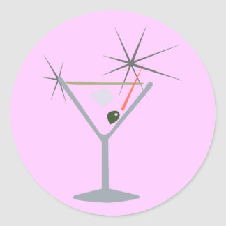 Partini Martini Glass Classic Round Sticker