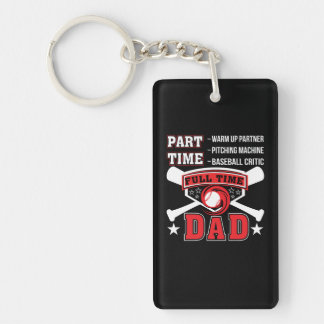 Partner Baseball Critic Full Time Dad Keychain