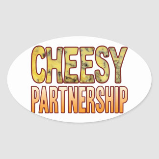 Partnership Blue Cheesy Oval Sticker