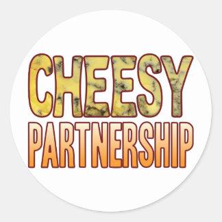 Partnership Blue Cheesy Round Sticker