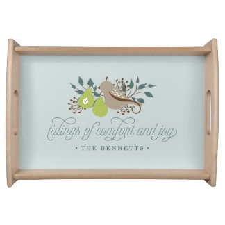 Partridge and Pear Personalized Holiday Serving Tray
