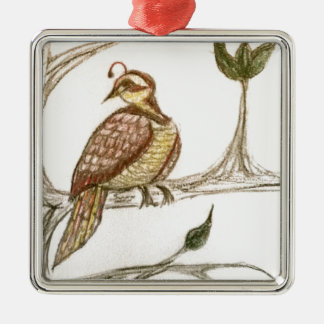 Partridge in a Green Pear Tree Silver-Colored Square Ornament