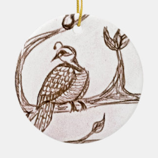 Partridge in a Pear Tree Ceramic Ornament