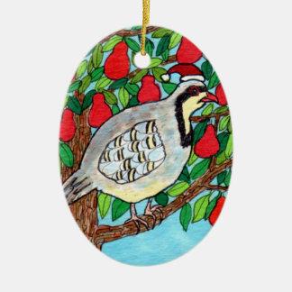 Partridge in a Pear Tree Ceramic Oval Ornament