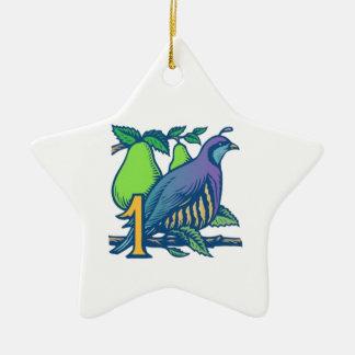 Partridge in a Pear Tree Ceramic Star Ornament