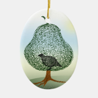 Partridge In A Pear Tree Christmas Ceramic Ornament