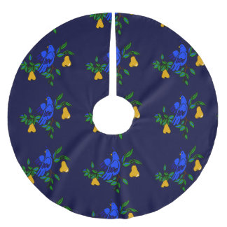 Partridge In A Pear Tree Christmas Tree Skirt Brushed Polyester Tree Skirt