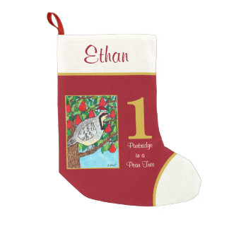 Partridge in a Pear Tree Cute Animals Custom Name Small Christmas Stocking
