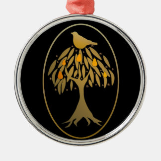 Partridge in a Pear Tree Gold Silver-Colored Round Ornament