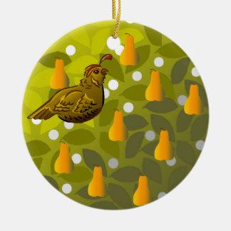Partridge in a Pear Tree Round Ceramic Ornament