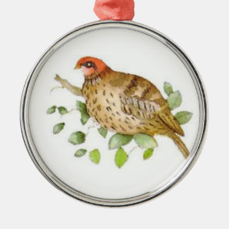 Partridge in a Pear Tree Silver-Colored Round Ornament