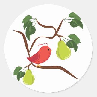 Partridge In Pear Tree Classic Round Sticker