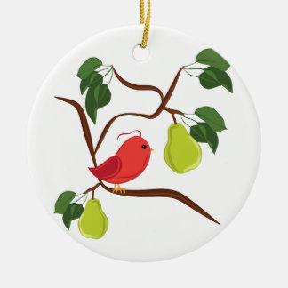 Partridge In Pear Tree Round Ceramic Ornament