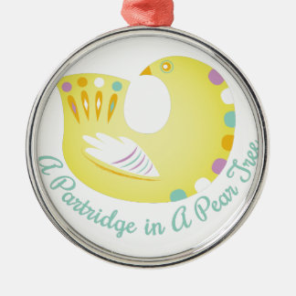 Partridge In Pear Tree Silver-Colored Round Ornament