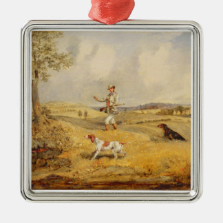 Partridge Shooting (oil on panel) Silver-Colored Square Ornament
