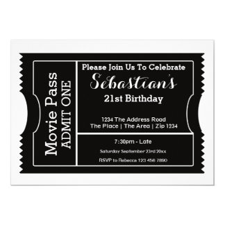 "Party Admission Ticket Black And White 5"" X 7"" Invitation Card"