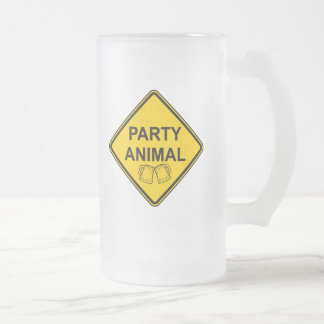 Party Animal 16 Oz Frosted Glass Beer Mug