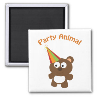 Party animal bear square magnet