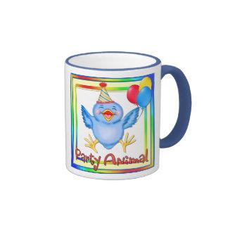 Party Animal Bluebird Ringer Coffee Mug
