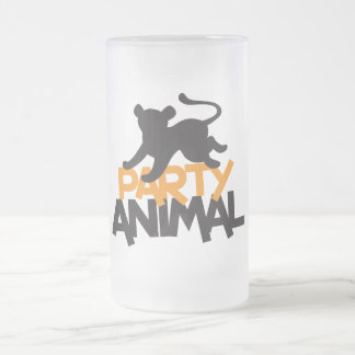 Party Animal! cat leaping 16 Oz Frosted Glass Beer Mug
