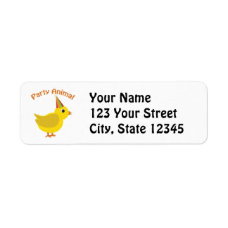 Party Animal Chick Return Address Label
