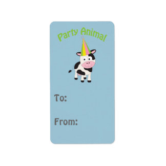 Party animal! Cow Address Label