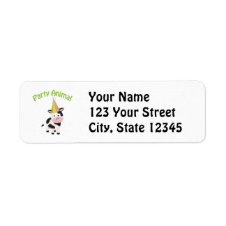 Party animal! Cow Return Address Label