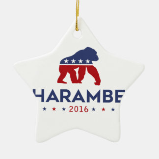 Party Animal Harambe Ceramic Star Ornament